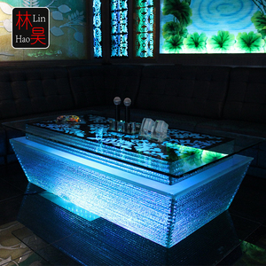 Luxury ktv pub furniture cafe dj snack led color changing light up bar cocktail party table
