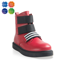 Fashionable kid casual red flat genuine leather shoes for children