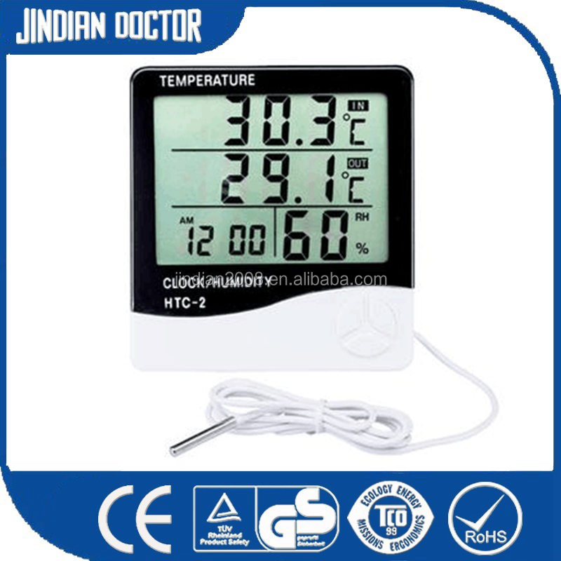 Multi-functional indoor and outdoor <strong>temperature</strong> and humidity thermometer HTC-2