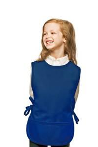 Hickory Ridge 450XL Kids Art Smock Two Pocket Cobbler Apron, Royal Blue, X-Large