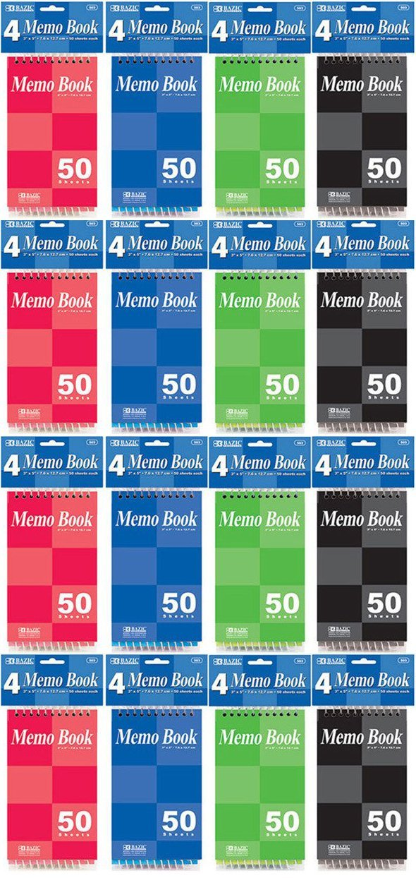 4 Pk, Bazic Top Bound Spiral Memo Books, 3-Inch-by-5-Inch, 50 Sheets (4 Per Pack, Total of 16)