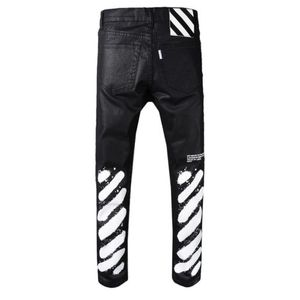 Off White biker jeans man destoryed Striped Denim rip jean Pants
