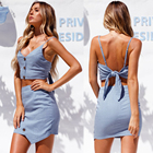 Two piece set women dresses boho clothing for strap top and pencil short skirt