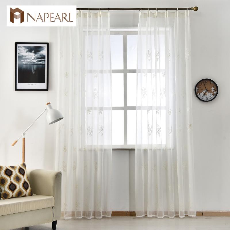 napearl cortinas blancas bordadas telas de tul dormitorio nieve navidad ventana cortina moderna del sitio del