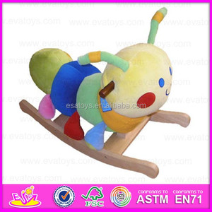 2015 Latest playful plush rocking horse,Bee style plush children indoor funny rocking horse,Wooden plush rocking horse WJ277562