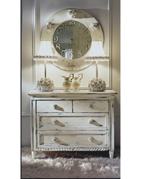 Vintage Distressed Antique Design Chest Of Drawers, White Console Table  With Drawers