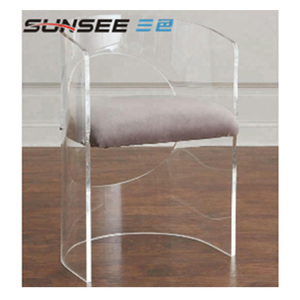 Plastic fashion acrylic transparent perspex clear modern design living room chaise home dinner chair