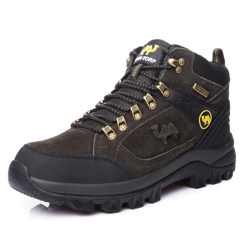 Botas de Genuine Cow Suede Leather Hiking Shoes Men, Green;brown