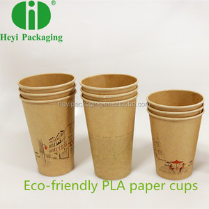 Kraft PLA Paper Coffee Cups 100% Biodegradable Disposable Paper