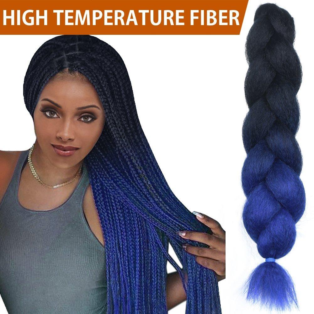 "FASHION IDOL 1-Piece PREMIUM Heat Resistant 30"" Soft Jumbo Braiding Hair (Cobalt Blue Ombre, 3.5 Oz) - Kinkys Straight Hair Extensions - Heat Resistant Braiding Hair - Synthetic Hair for Braiding"