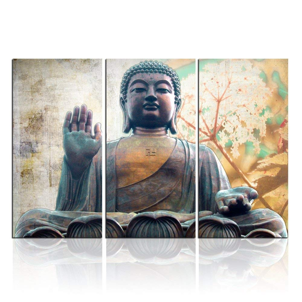 3 piece framed wall art navy cream wall get quotations buddha decor canvas art picture for wall piece bedroom ready to hang cheap framed art find deals on