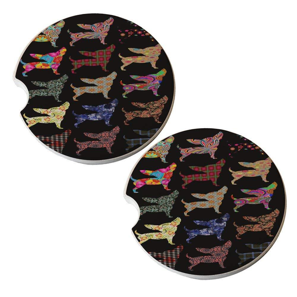 Chihuahua Dog Pattern - Sandstone Car Drink Coaster (set of 2 coasters)