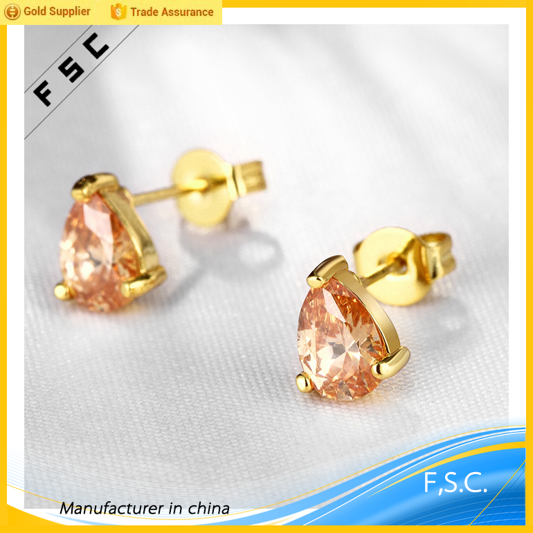 irregular vogue wholesale dubai new yellow gold plated topaz cz stud copper earings for women