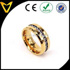 18 K Gold-Plated Engagement Ring with Channel Set CZ 8MM Comfort Fit Titanium Wedding Band