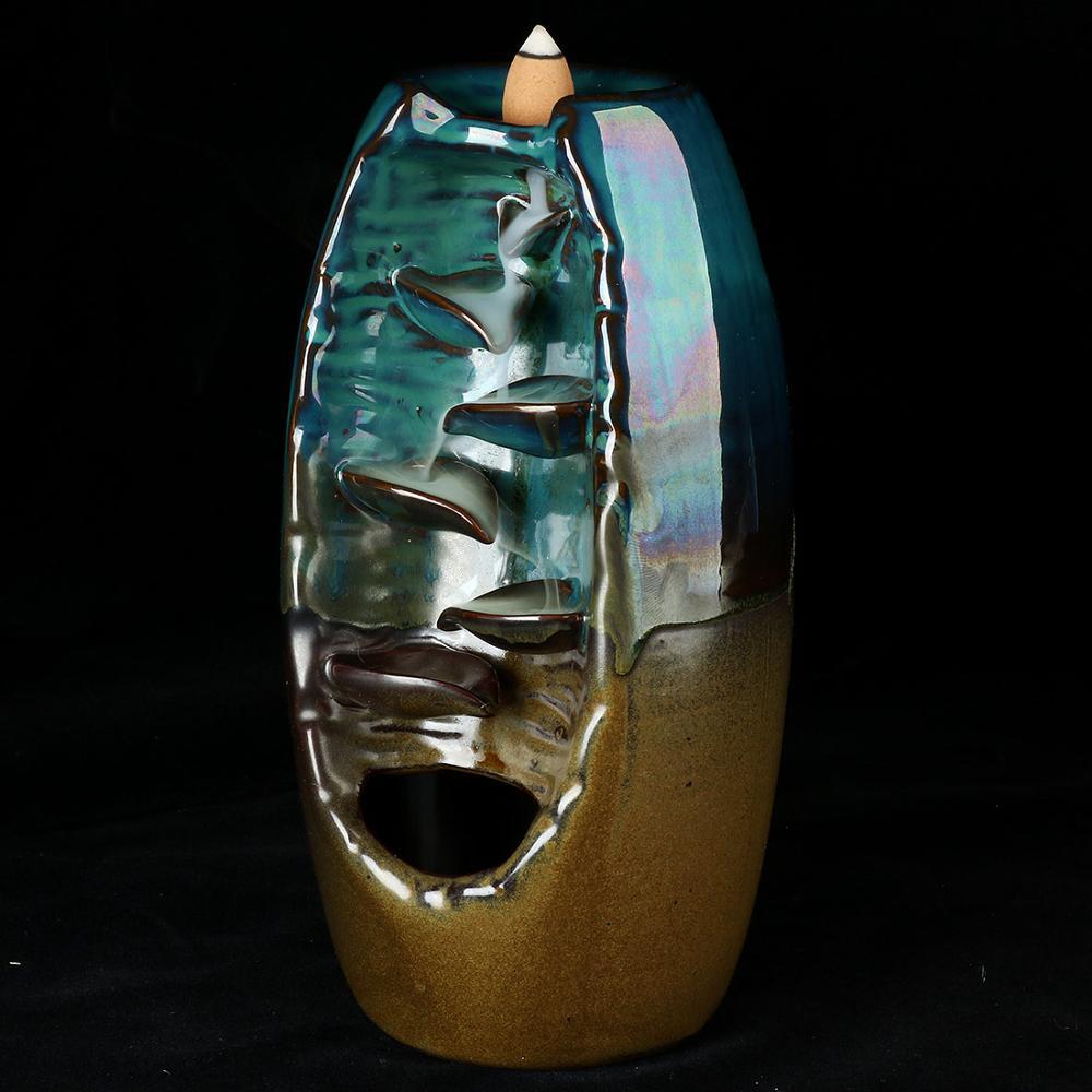 Porta incenso a cascata per casa e ufficio decorazione in ceramica per la casa con 10 coni di incenso a riflusso