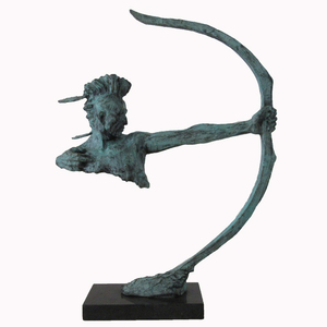 Decorative Indoor Patina Abstract Bronze Archery Sculpture for Sale