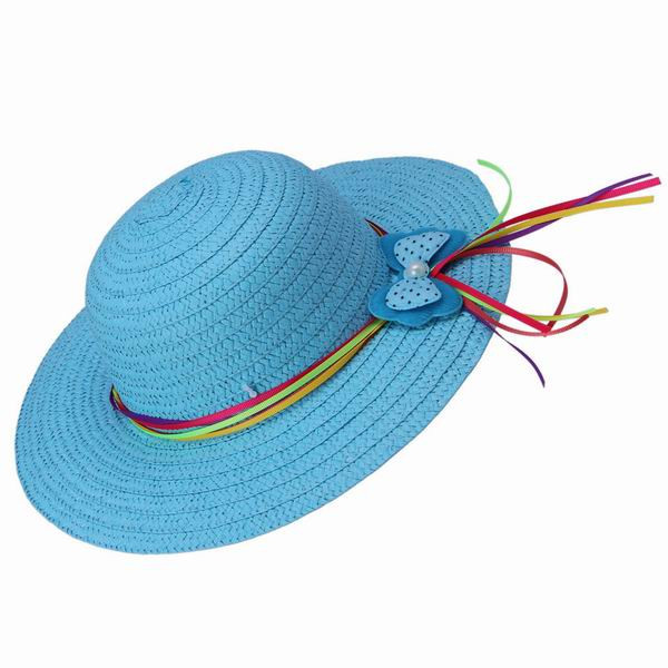 1be411cf Summer Child Girls Blue Straw Hats Dome Round Top Wide Brim Caps Sun Beach