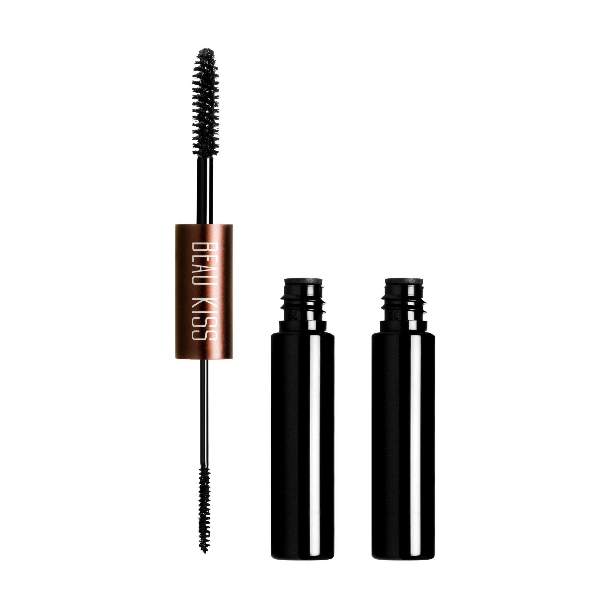 Beau Kiss Magic Eyelash Double Tube Mascara, False Lash Like Effect, Longer-Looking Nourished Lashes, Black - 0.15 Fl Oz (4.5ml)
