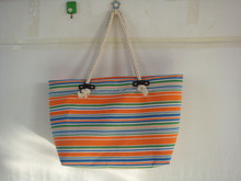 Classic horizontal stripes canvas bag