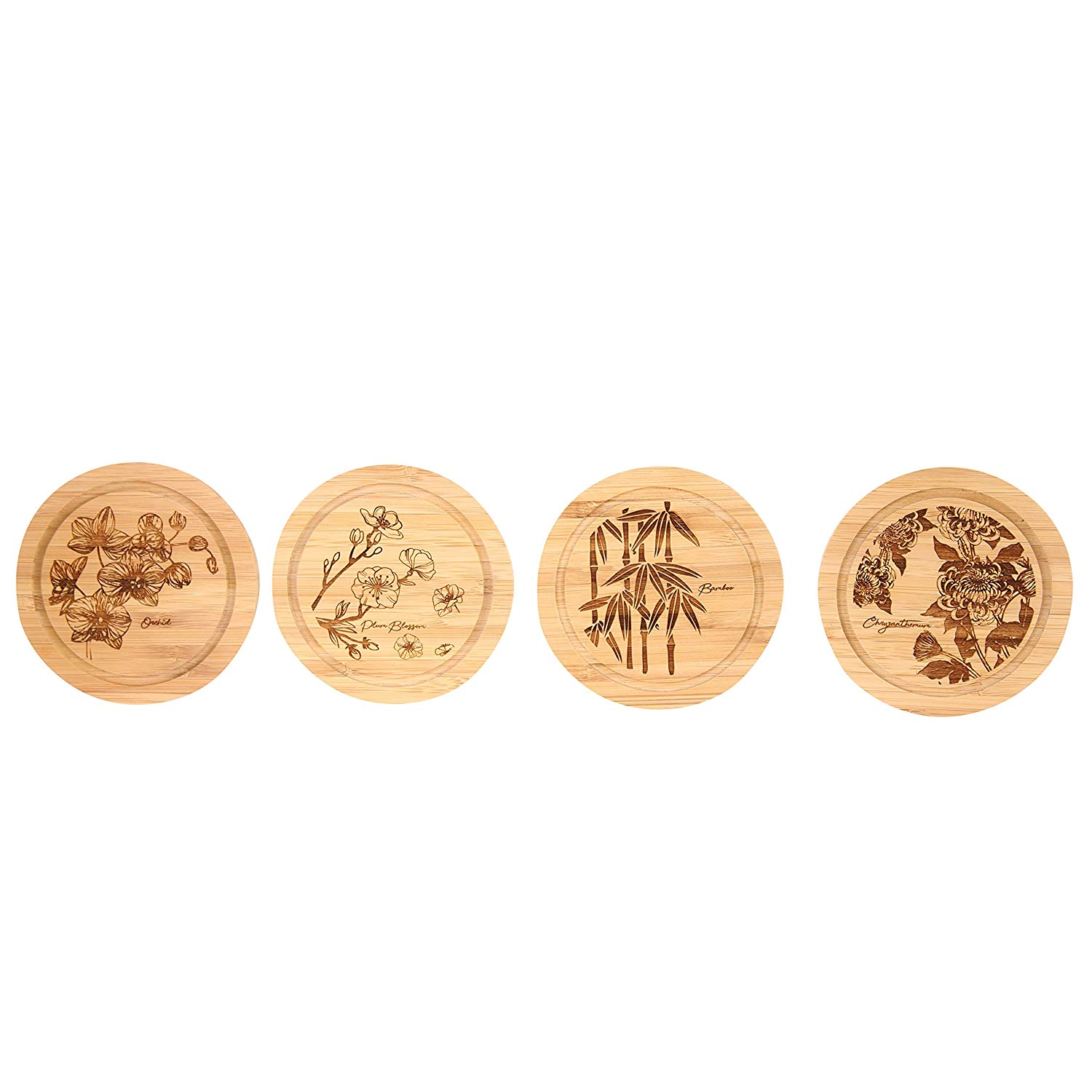 Vastigo Bamboo Round Coasters w/Flower Design - Chrysanthemum, Bamboo, Plum Blossom, and Orchid