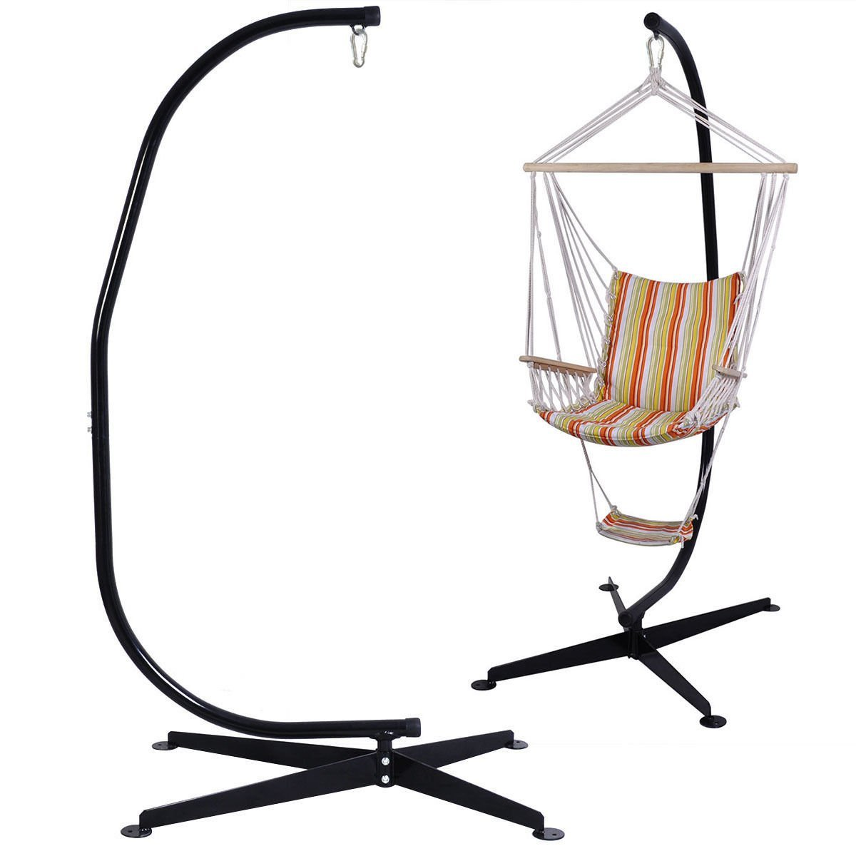 GHP Heavy-Duty Stand Solid Steel Air Porch Swing C Frame Hammock Chair Stand