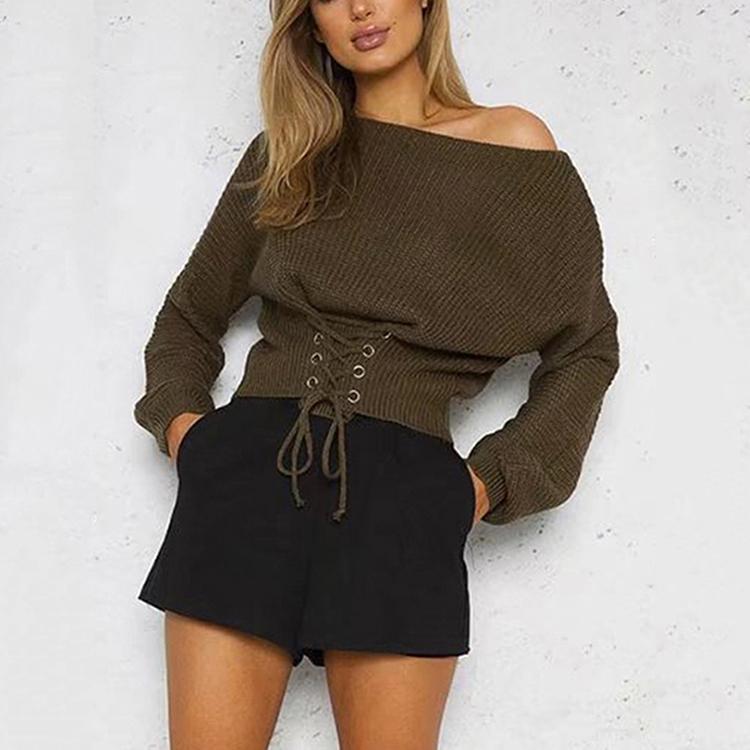高品質カジュアルアーミーグリーン片方の肩長袖セーター女性
