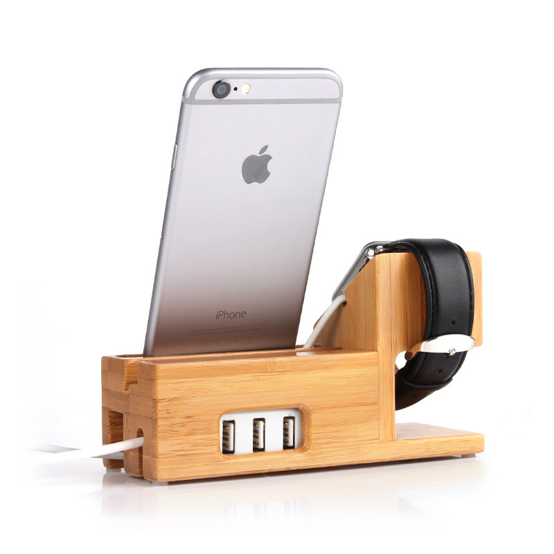 China Factory Holder with USB Port Bamboo Wood Mobile Phone Stand Charging for Apple Watch