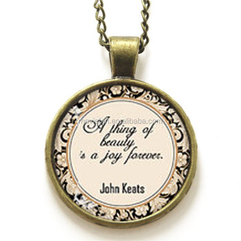 John Keats Quote Necklace A Thing Of Beauty Is Joy Forever Vintage Typewriter