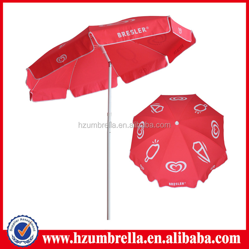 wall's big polyester beach umbrela, red umbrella supplier in dubai