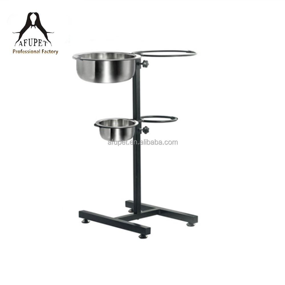 adjustable stainless steel pet/dog/cat bowls with shelf for wholesale