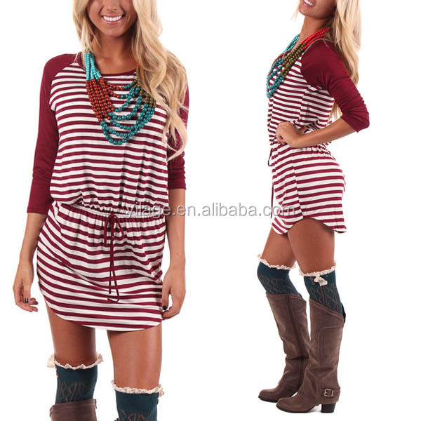 2014 Fall Style Striped Drawstring Waist Western Style Dresses Women L800