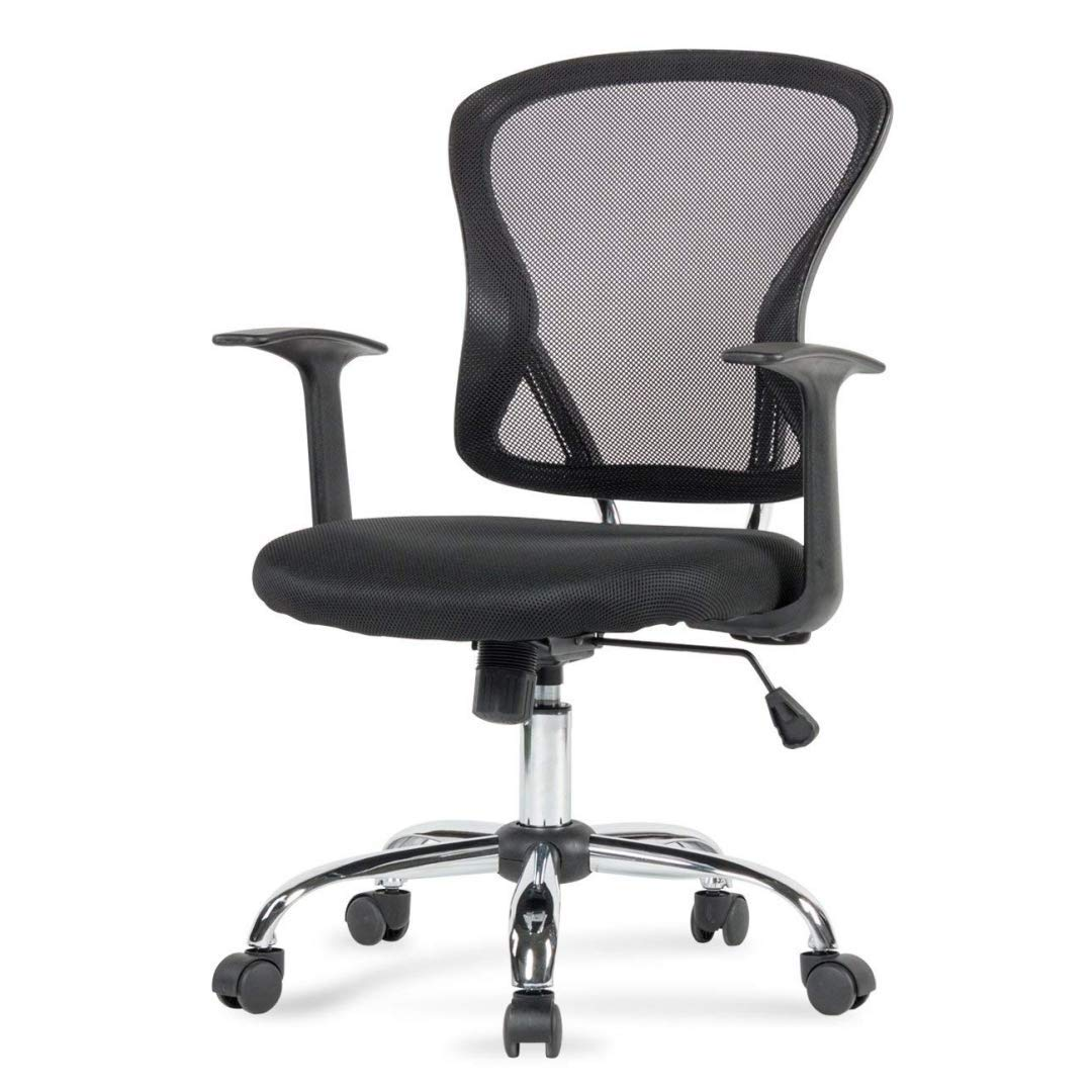 Modern Design Mid-Back Computer Desk Task Dining Room Chair Height Adjustable 360-Degree Swivel Seat Comfortable Padded Mesh Upholstery W/Armrest Home Office Furniture - (1) Black #2003