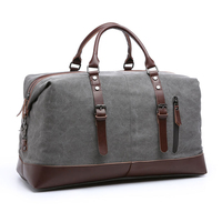 Wholesale custom low moq vintage canvas PU leather trim tote shoulder bag mens weekend travel duffel bags 2019