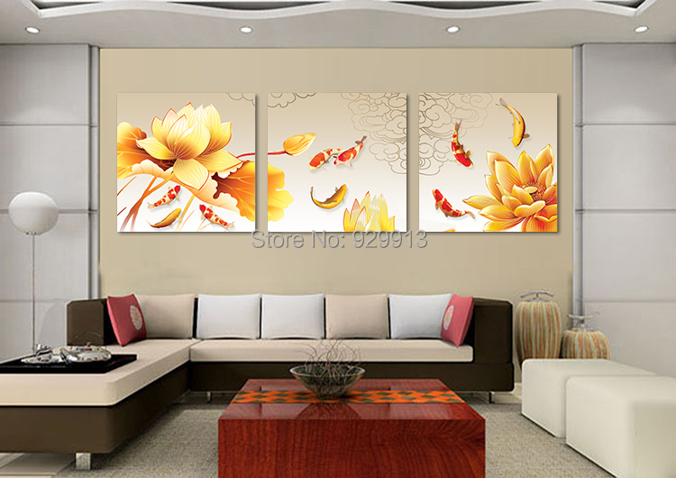 framed 3 panel wall art chinese oil painting feng shui koi fish picture for living room. Black Bedroom Furniture Sets. Home Design Ideas