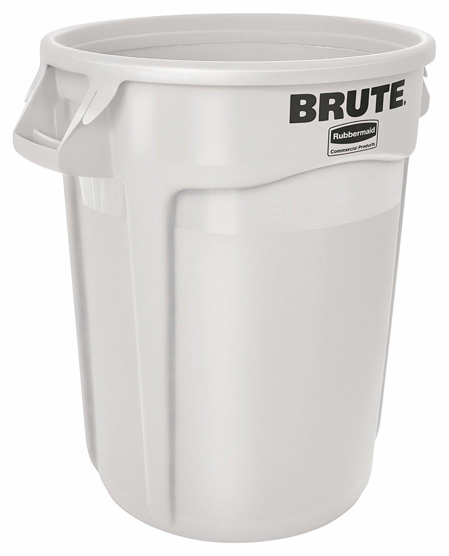 Rubbermaid Commercial BRUTE Trash Can, 32 Gallon, White, FG263200WHT
