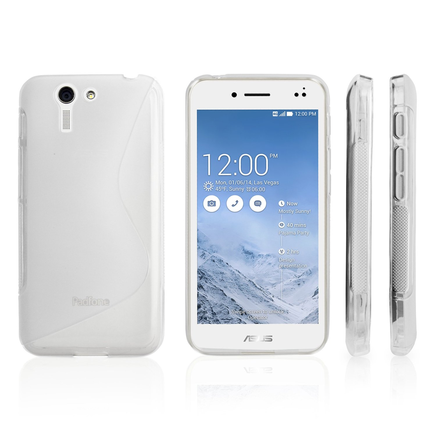 ASUS PadFone S Case, BoxWave® [DuoSuit] Ultra Durable TPU Case w/ Shock Absorbing Corners for ASUS PadFone S - Frosted Clear