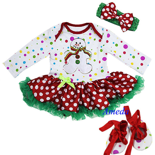 Baby Christmas White Snow Man Colorful Polka Dots Long Sleeves Bodysuit Jumpsuit Romper Pettiskirt Headband Crib Shoes NB-18M