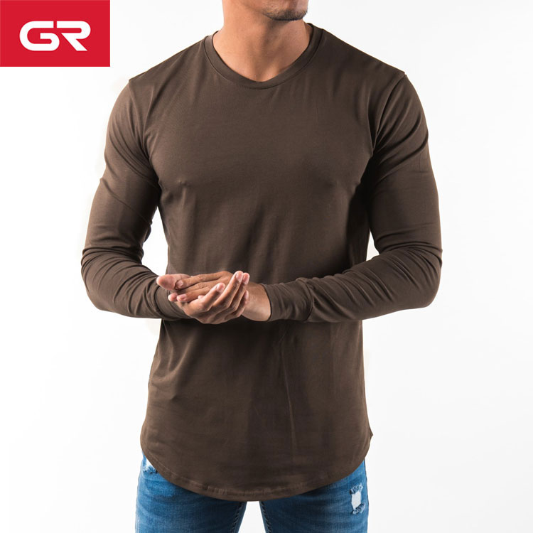 Dark Brown Gym Wear Scalloped Hem Custom Mens Long Sleeve T Shirt