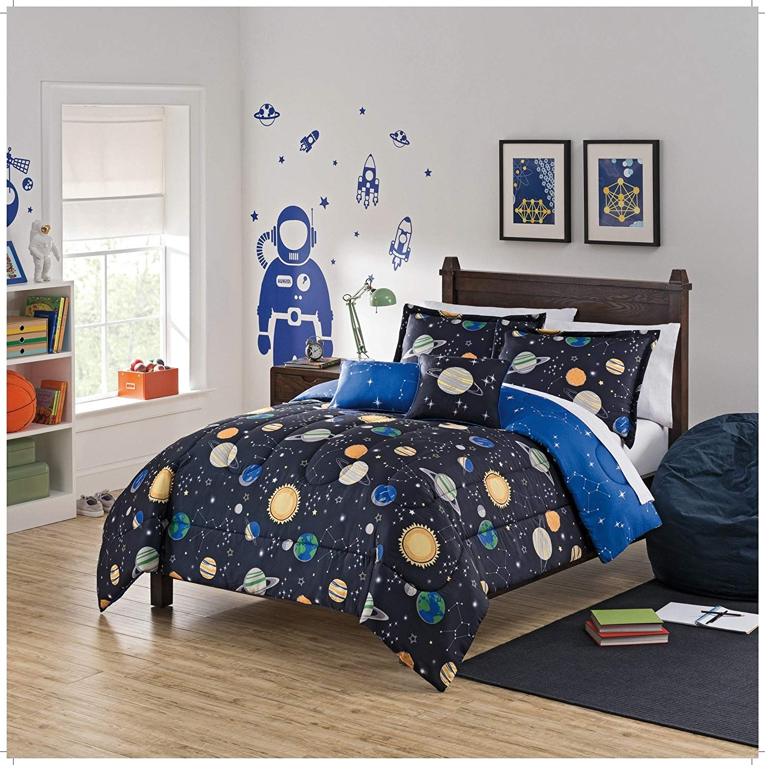 CA 3 Piece Multi Kids Space Adventure Comforter Set Full Queen, Black Blue Orange Grey Graphic Print Sun Stars Planet Motifs Teen Themed Reversible Kids Bedding for Bedroom Colorful Casual, Polyester
