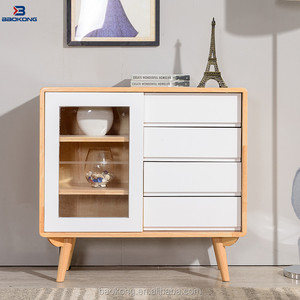 Modern White Wooden Sliding Glass Door Sideboard With Four Drawers