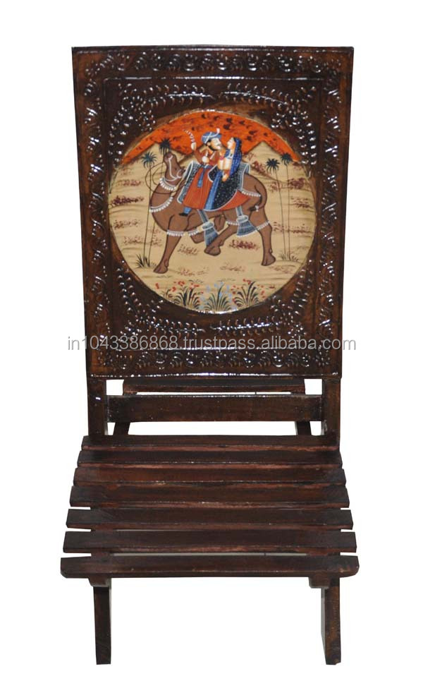 Rajasthani Wooden Handicraft Traditional Camel Design Hand Carved Painted Chair