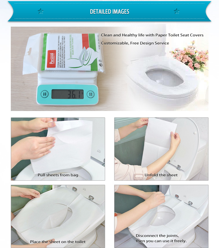 1/16 fold 1ply 10pcs bag travel pack Toilet Seat Cover Paper