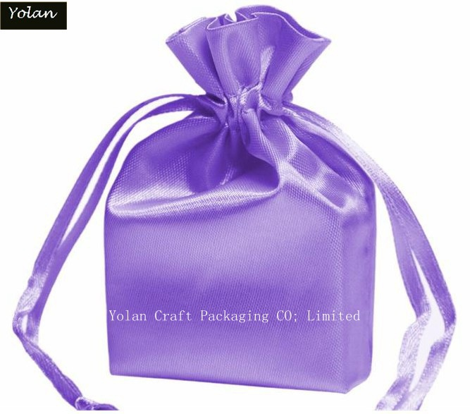 Purple Silk Satin Bag, Drawstring Bag