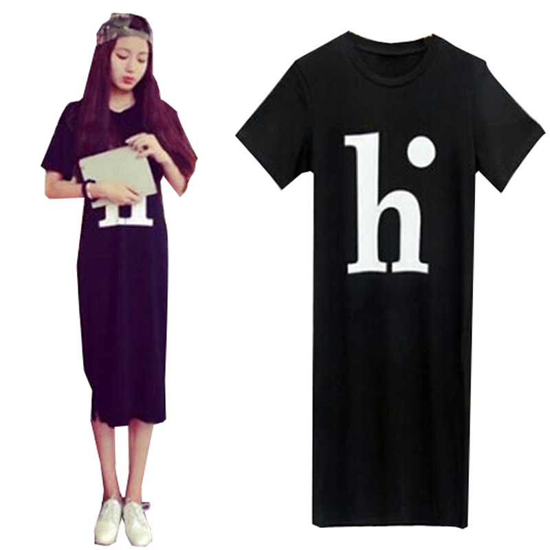 Women Summer Dress 2015 Korean Summer Style Letter Loose Casual Long Maxi Dress Vestidos Black Cheap Clothes China Plus Size