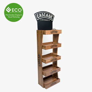 Custom Size Stable Beer Wood Display Stand For Can Bottle Water Beverage