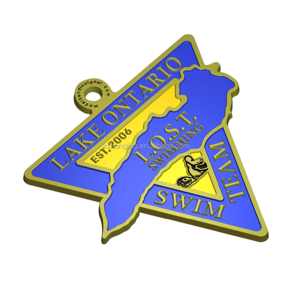 cheap custom trilateral shaped metal medal