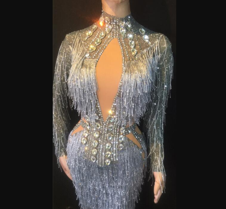 Sparkly Silver Rhinestones See Through Bodysuit celebrating tassels fringes crystals fancy evening club party dress women gowns