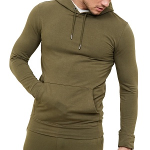 Men Muscle Fit Cotton Sports Jogger Plain Hoodie