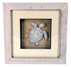"""StealStreet LHE-784 Ss-Ug-Lhe-784, 6"""" Sea Turtle Aquatic Life Shadowbox Decorative Frame, White"""