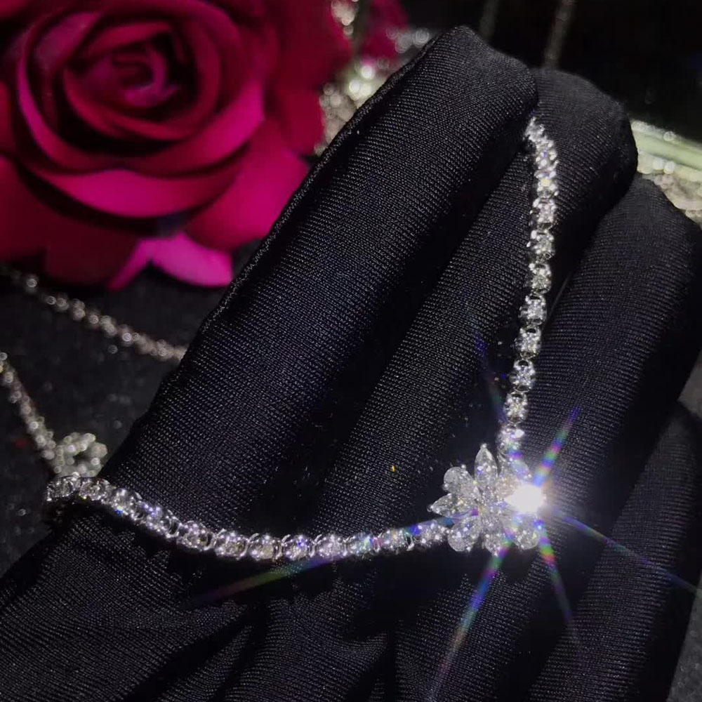 Wholesale Luxury Precious Natural Real 2.9ct Diamond Necklace 18k Gold Jewelry For Women Wedding, White